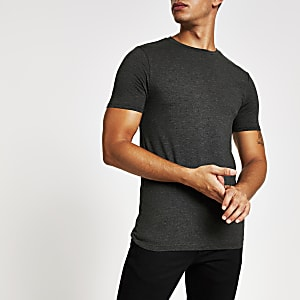 Dunkelgraues, kurzärmeliges Muscle Fit T-Shirt