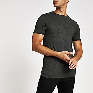 Dunkelgraues, kurzärmeliges Muscle Fit T-Shirt