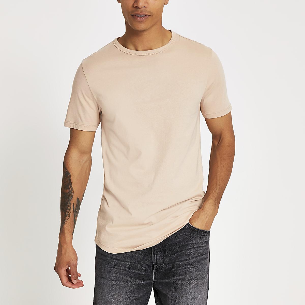 Kiezelkleurig lang T-shirt met ronde zoom