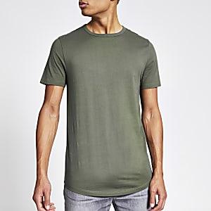 Khakifarbenes Longline-T-Shirt mit gebogenem Saum