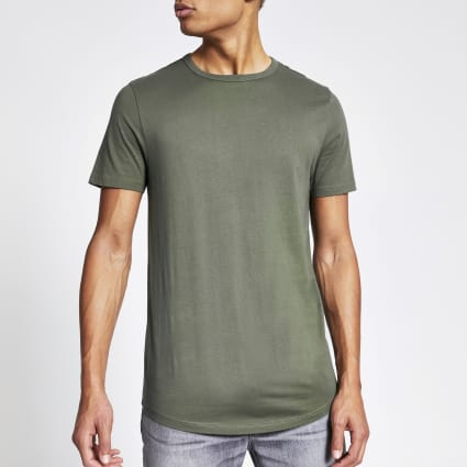 Khaki muscle fit longline T-shirt