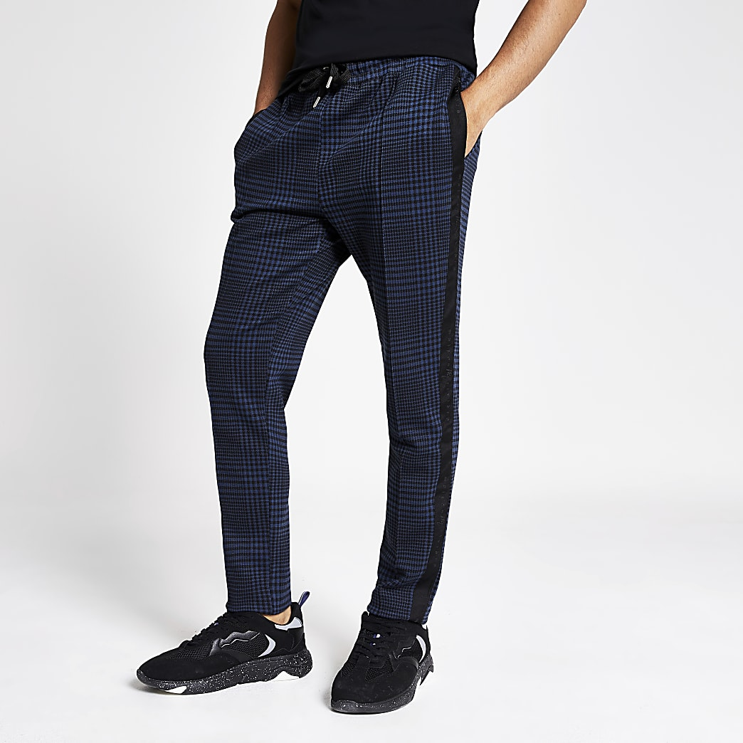 Navy check print tape joggers