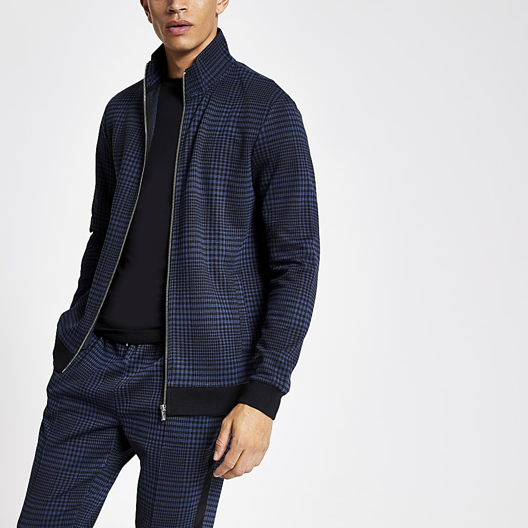 Navy check print track jacket
