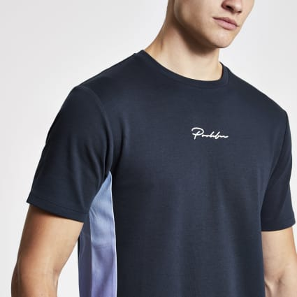 Navy Prolific fade panel slim fit T-shirt