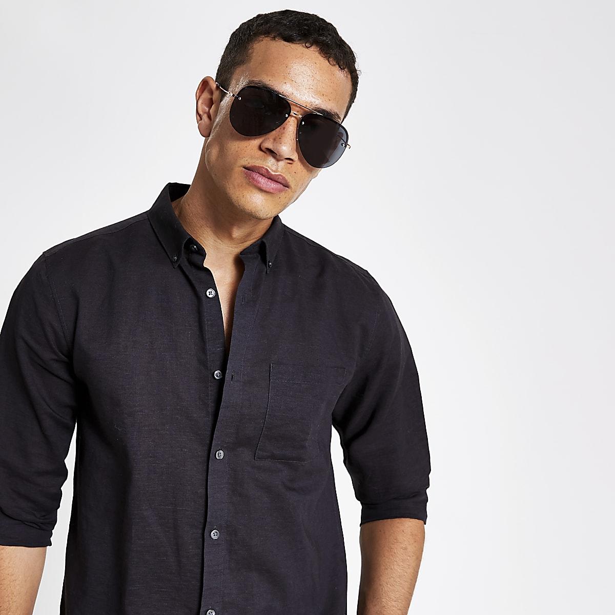 Gold tone black lens aviator sunglasses