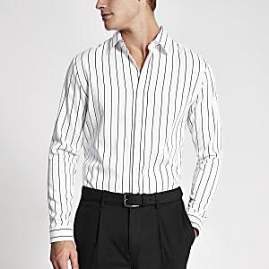 Weißes Slim Fit Premium-Hemd in Nadelstreif