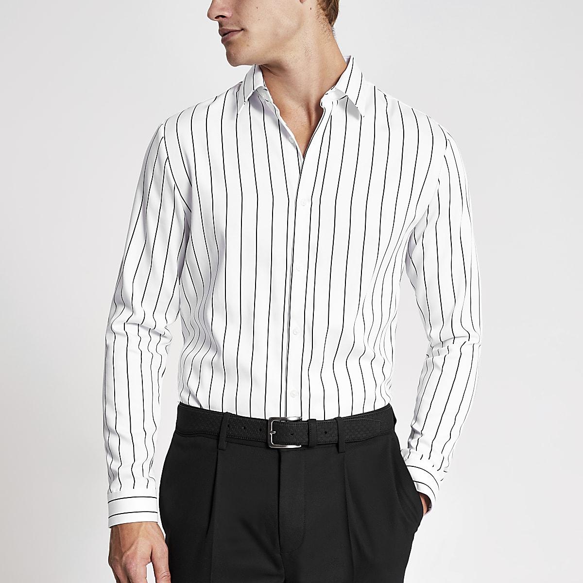 Wit krijtstreep slim fit premium overhemd
