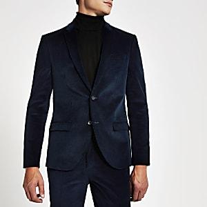 Einreihiger Skinny-Anzug aus Cord in Blau