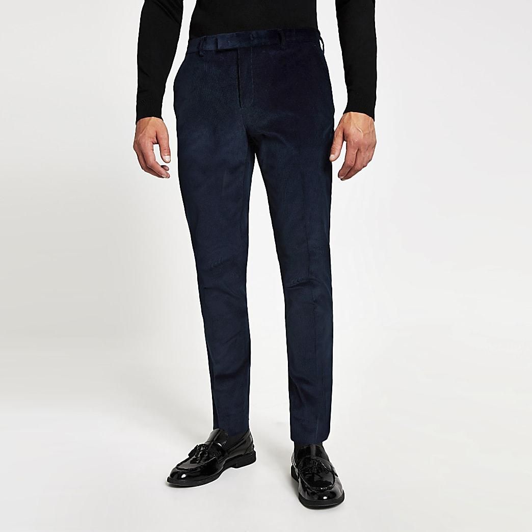 Blaue Skinny-Anzughose aus Cord