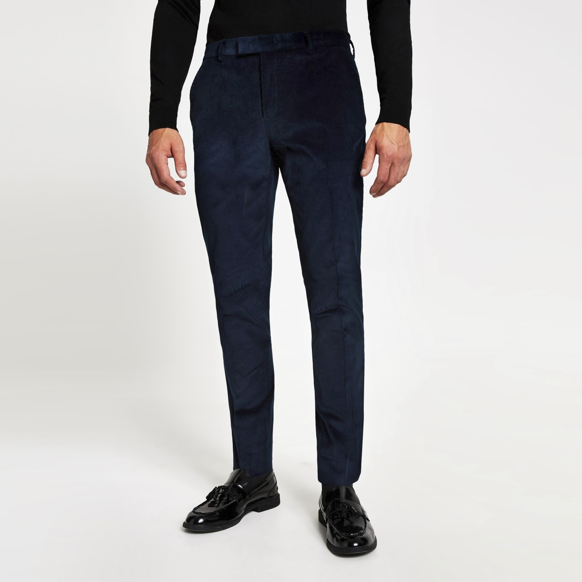 Blue cord skinny suit trousers