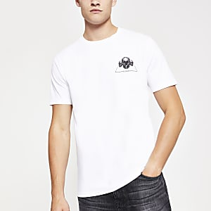 White skull print short sleeve T-shirt