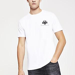 T-shirt imprimé tête de mort blanc à manches courtes