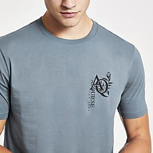 T-shirt imprimé «AQ» bleu à manches courtes
