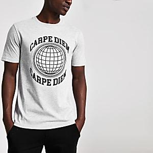 Grijs T-shirt met korte mouwen en Carpe diem-print