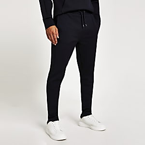Marineblaue Slim Fit Jogginghosen aus Twill