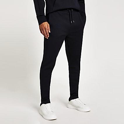 Navy slim fit twill joggers
