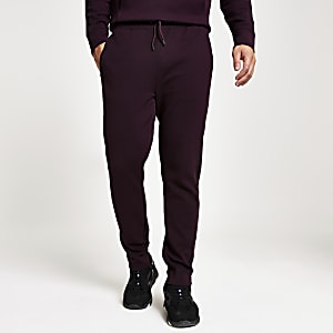 Slim-Fit Jogginghose aus Köper in Dunkelrot