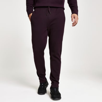 Dark red twill slim fit joggers
