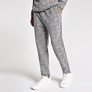 Grau-karierte Slim Fit Velours-Jogginghosen