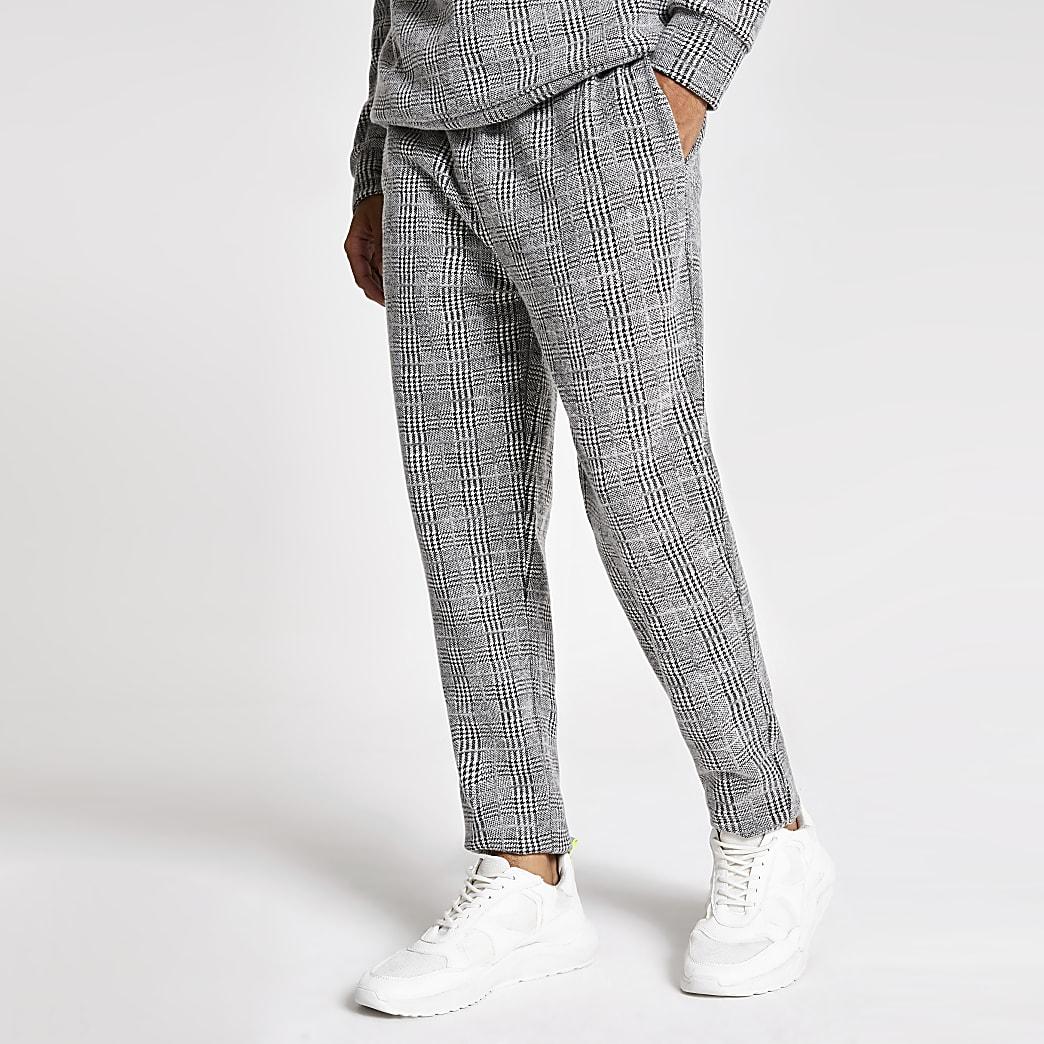 Pantalons de jogging slimgris brossé à carreaux