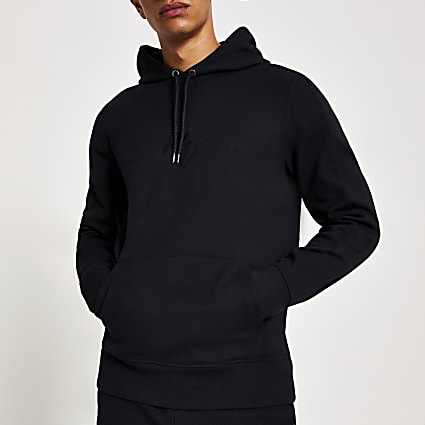 Navy twill Maison Riviera slim fit hoodie