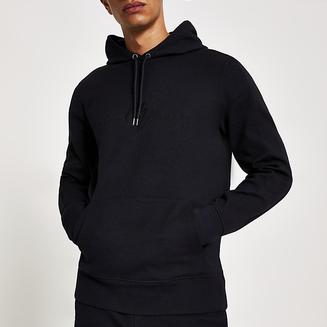 Maison Riviera - Marineblauwe slim-fit hoodie van keperstof