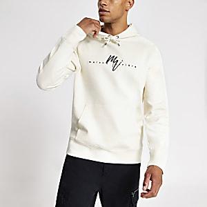 Maison Riviera - Witte slim-fit hoodie van keperstof