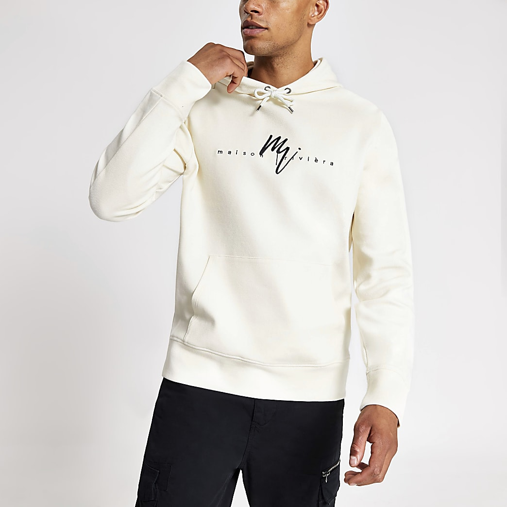 Maison Riviera white twill slim fit hoodie