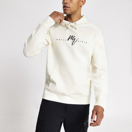 White twill Maison Riviera slim fit hoodie