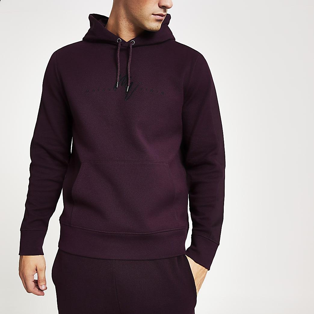 Dark red twill slim fit Maison Riviera hoodie
