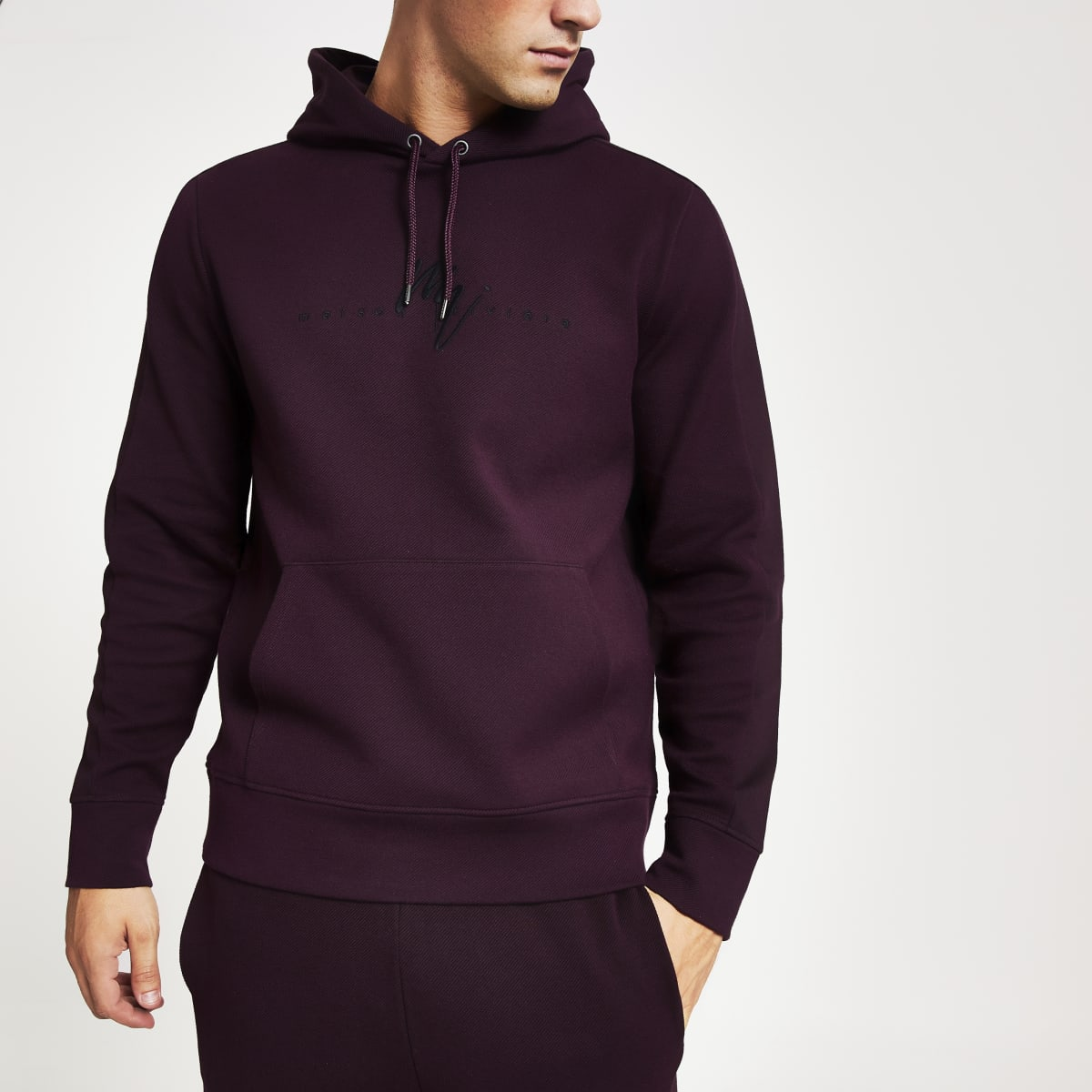 Dark red twill slim fit Maison Riviera hoodie