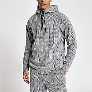 Sweat à capuche gris clair à carreaux coupe slim