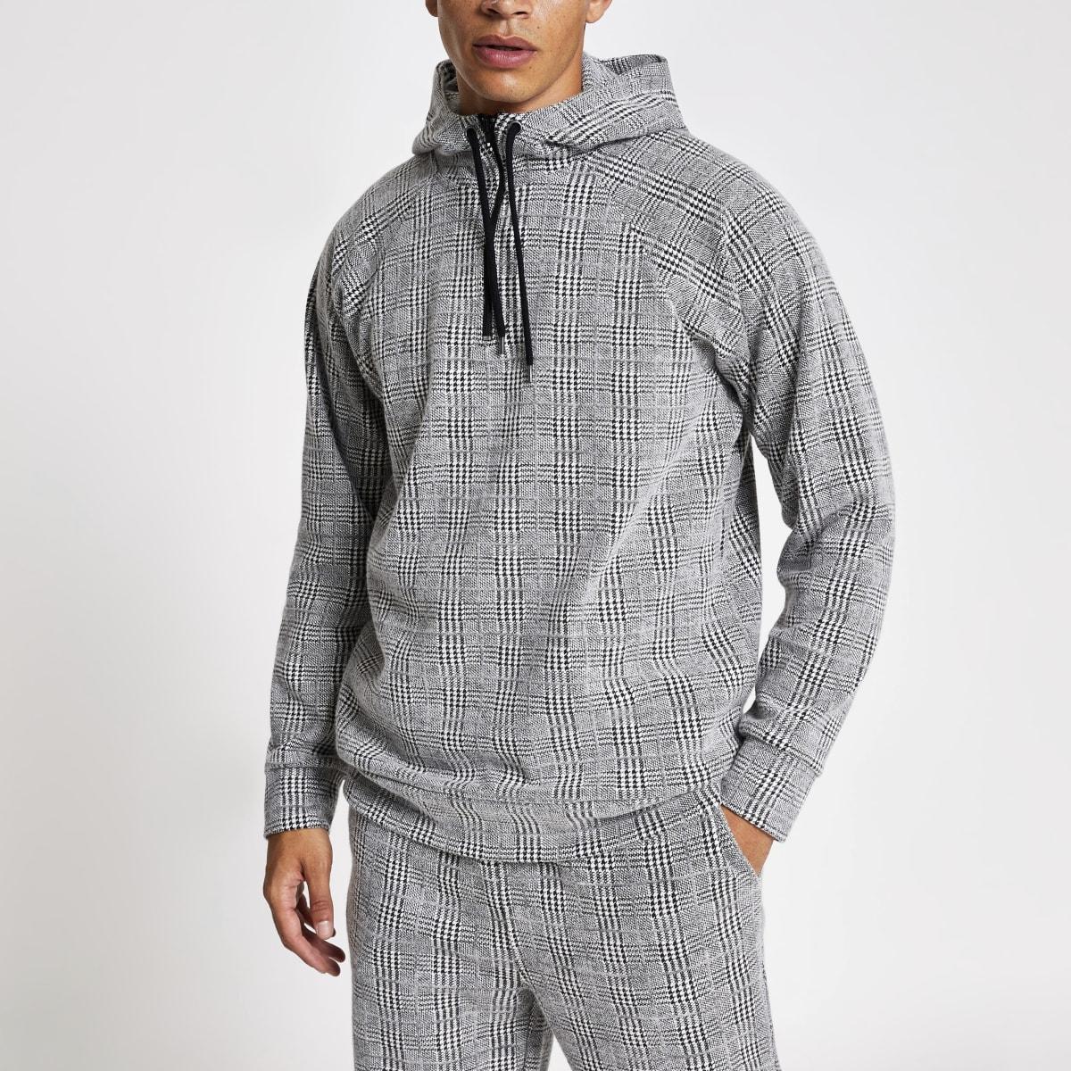 Sweat à capuche gris clair à carreaux coupe slim