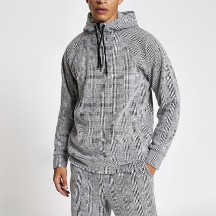 Light grey slim fit check hoodie