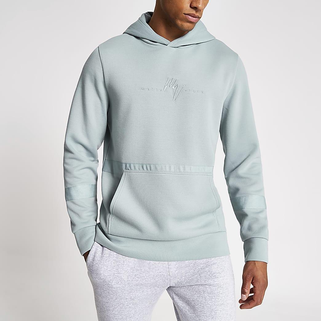 Maison Riviera light blue slim fit hoodie