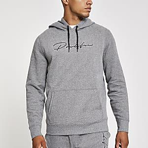 Prolific- Lichtgrijze slim-fit hoodie