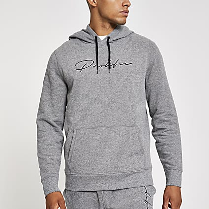 Prolific light grey slim fit hoodie