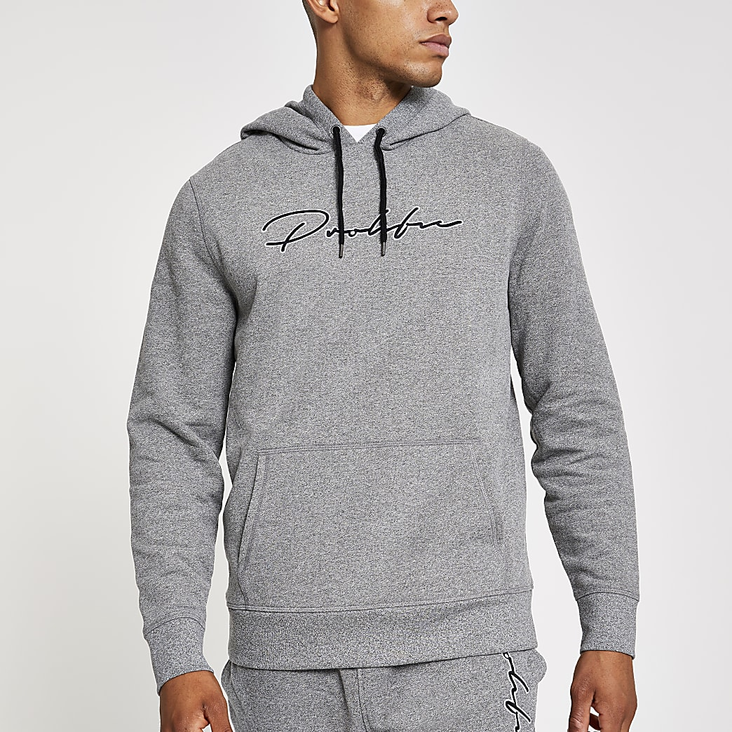 Prolific – Sweat à capuche slim gris clair