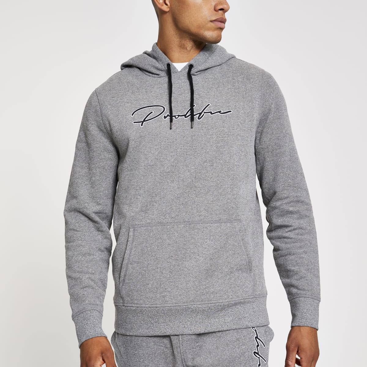 Prolific - Lichtgrijze slim-fit hoodie
