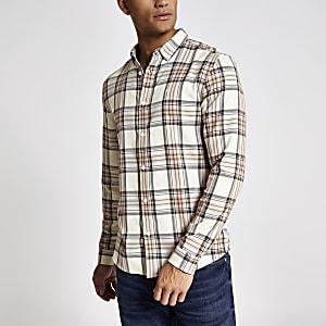 Steingraues, langärmeliges Regular Fit Hemd mit Karomuster