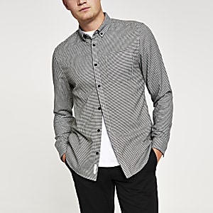Graues Slim Fit Hemd mit Hahnentritt-Muster
