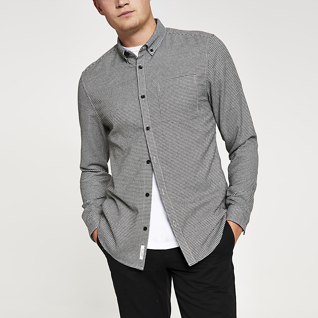 Grey slim fit dogtooth check print shirt