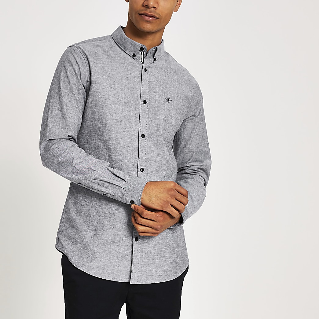 Grey long sleeve regular fit Oxford shirt