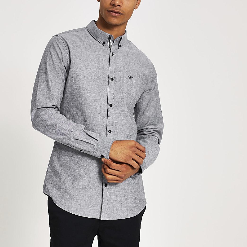 Chemise oxford coupe classique grise à manches longues