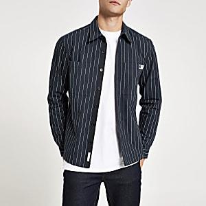 Marineblaues Regular Fit Überhemd mit Nadelstreifmuster