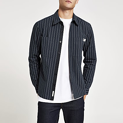 Navy long sleeve pinstripe overshirt