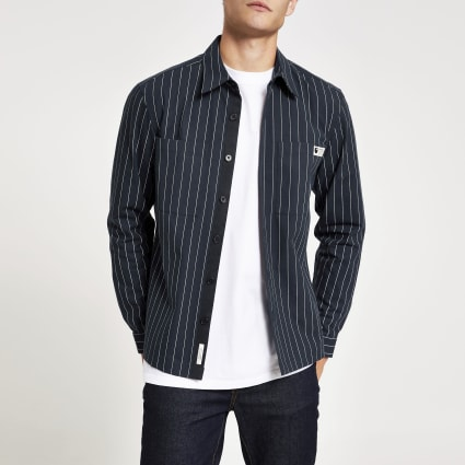 Navy pinstripe regular fit overshirt
