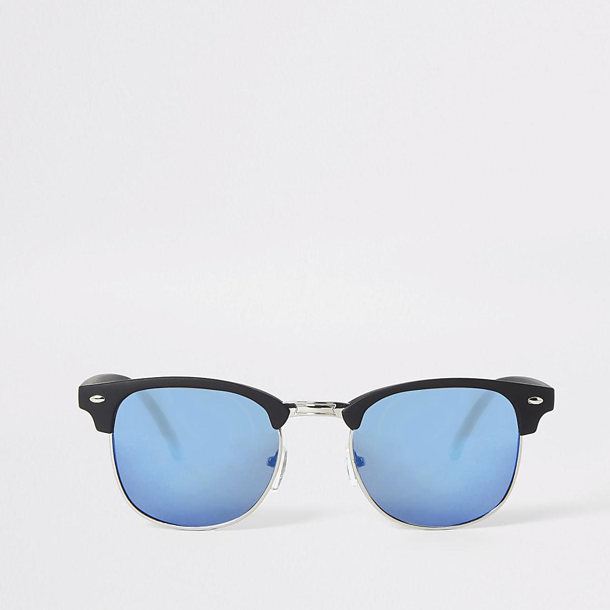 Black retro frame blue lens sunglasses