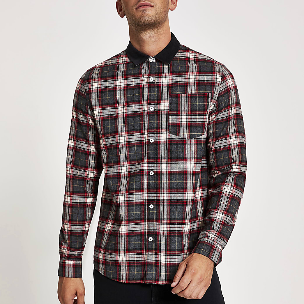 Red check long sleeve cord collar shirt