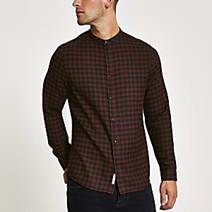 Rotes langärmeliges Hemd mit Karomuster und Grandad-Kragen